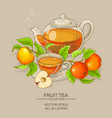 cup of apple tea and teapot vector image