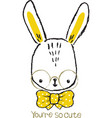 cute bunny hand drawn portrait vector image