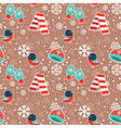 Cute winter seamless pattern with warm clothes vector image vector image