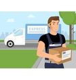 Delivery service man with a box in his hands vector image vector image