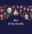 dia de los muertos banner template decorated vector image vector image