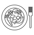 dish and fork with vegetables salad vector image