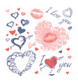 doodle hearts arrows and lips valentines day vector image