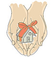 drawn humans hand holding house with ribbon vector image vector image