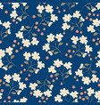 floral seamless pattern on dark blue background vector image vector image