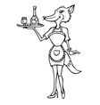 fox cocktail waitress outline vector image vector image