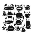 funny friends crabs black silhouette for your vector image vector image