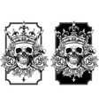 Graphic skull with crossed bones and crown set vector image