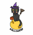 halloween black cat wear witch hat sit on moon vector image vector image