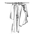 hand drawn wardrobe sketch clothes on hunger vector image vector image