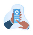 hand holding smartphone with log in page vector image