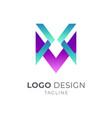 letter x m logo vector image vector image