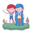 little kids in the garden characters vector image vector image