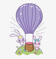 rabbit couple with air balloon to valentine day vector image vector image