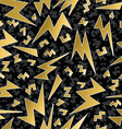 Retro 80s 90s thunder bolt ray pattern gold fancy vector image