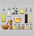 salt and pepper shakers kitchen spices dispensers vector image vector image