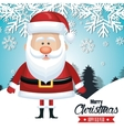 santa claus card merry christmas snowfall tree vector image