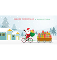 santa claus cycling bicycles with gift in cart vector image vector image
