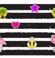 Seamless pattern with anchor heart flamingo and