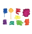 set colorful grunge brush strokes and splashes vector image vector image