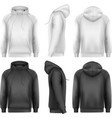 Set of black and white male hoodies with sample vector image vector image