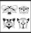 set of polygonal animals polygonal logos vector image vector image