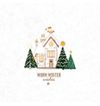 small snow covered house and three christmas tree vector image