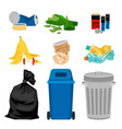 trash set with garbage bins vector image