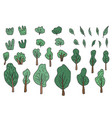trees and bushes set for social media vector image vector image