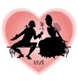 Vintage silhouettes on a bench vector image