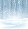 winter snow on wood background 3009 vector image vector image
