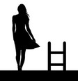 woman silhouette with ladder on the roof vector image vector image