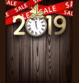 wooden sale 2019 background with gold clock and vector image