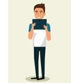 young man using smartphone avatar character vector image vector image