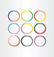 colorful circle frames set elements vector image