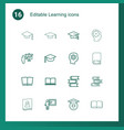 16 learning icons vector image vector image