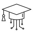 ai smart graduate hat icon outline style vector image vector image