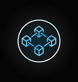 blue blockchain in circle outline icon block vector image