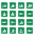 boat and ship icons set grunge vector image vector image