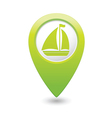 boat icon on map pointer green vector image vector image