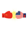 boxing gloves painted china flag and boxing vector image vector image
