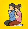 boy and girl pray together prayer christian vector image