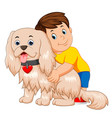 boy hugging a funny dog vector image