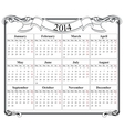 calendar grid 2014 blank template vector image vector image