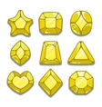 Cartoon yellow different shapes gems vector image