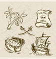 collection of hand-drawn pirates design elements vector image vector image