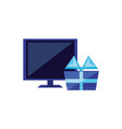computer monitor with gift box vector image vector image