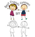 doodle boy and girl best friends vector image