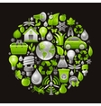 Ecological set with green concept icons in circle vector image vector image