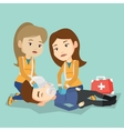 Emergency doctors carrying man on stretcher vector image vector image
